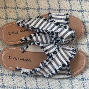 Dirty Laundry black and white striped slides